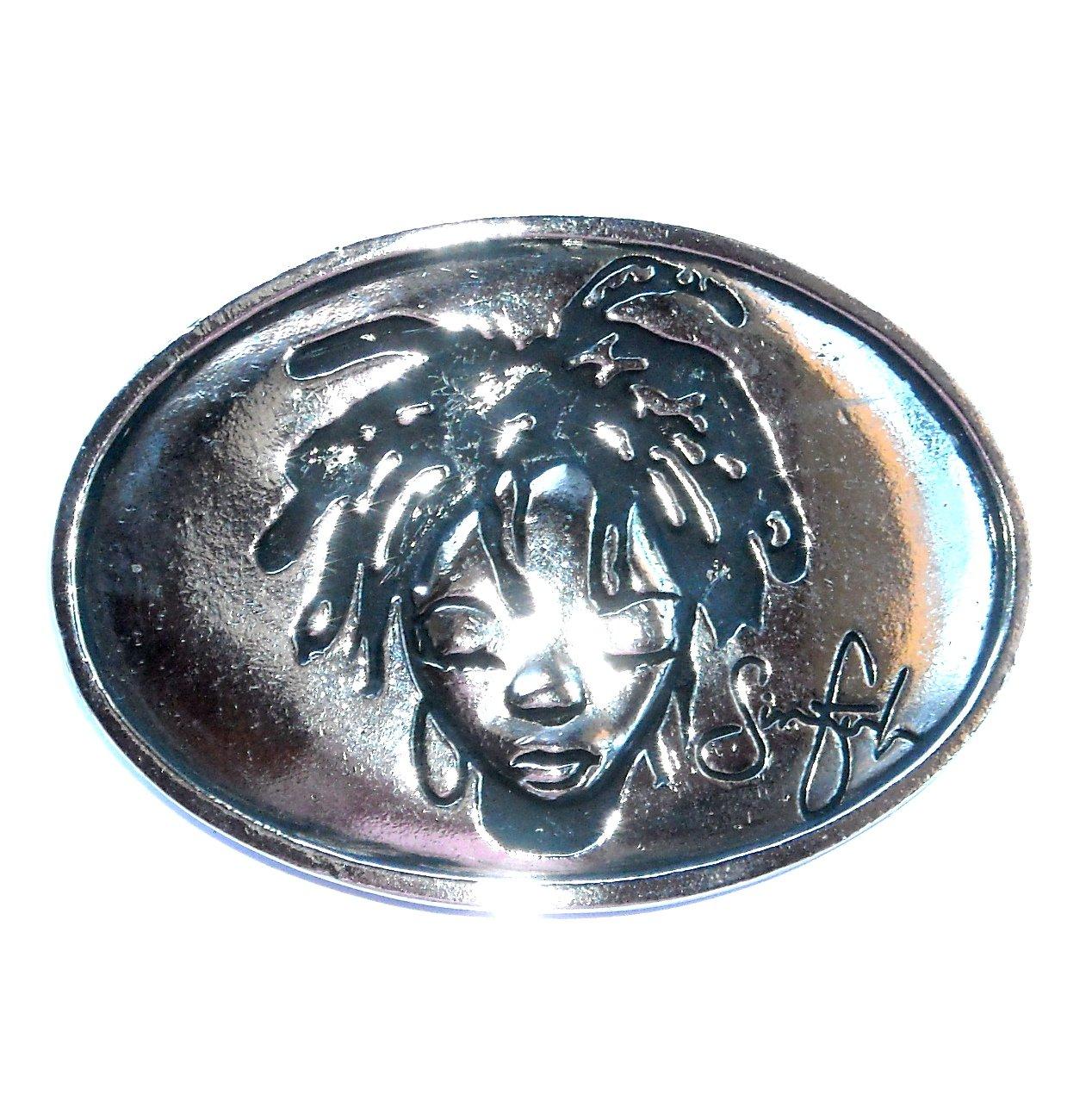 Voodoo Girl Sinful Silver Color American Belt Buckle