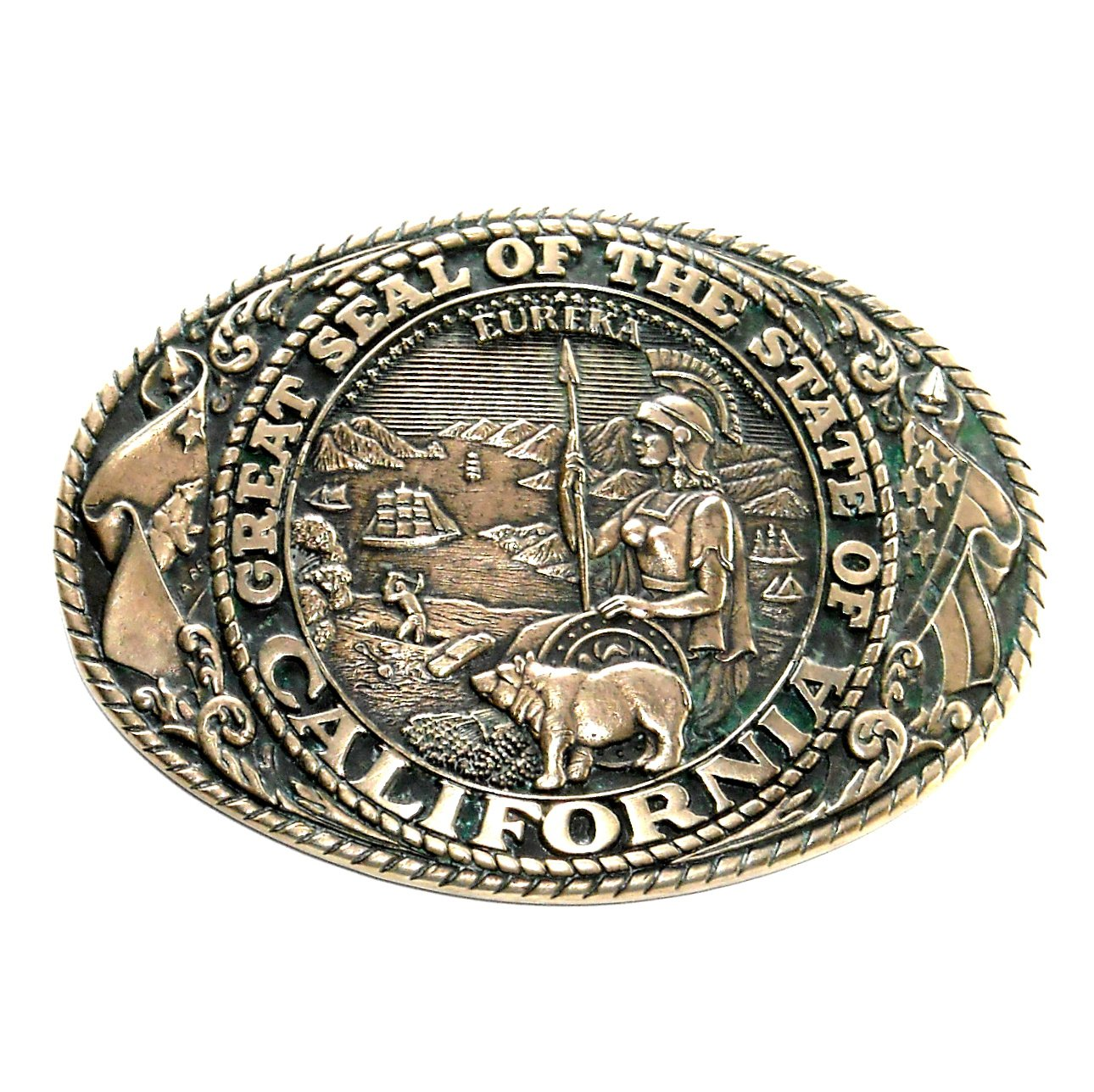 California State Seal Tony Lama Brass Belt Buckle