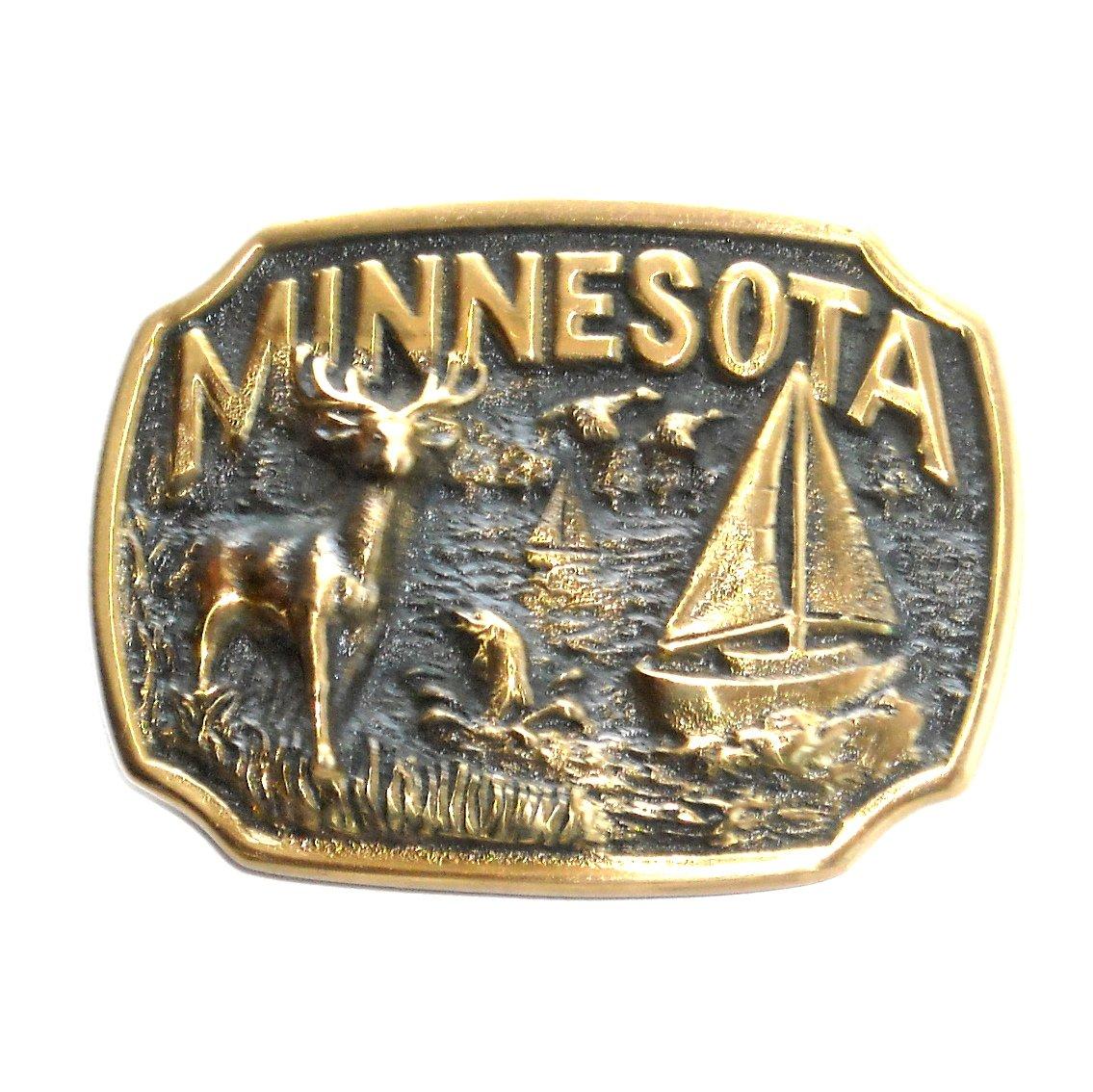 Minnesota Heritage Mint Solid Brass Vintage Belt Buckle