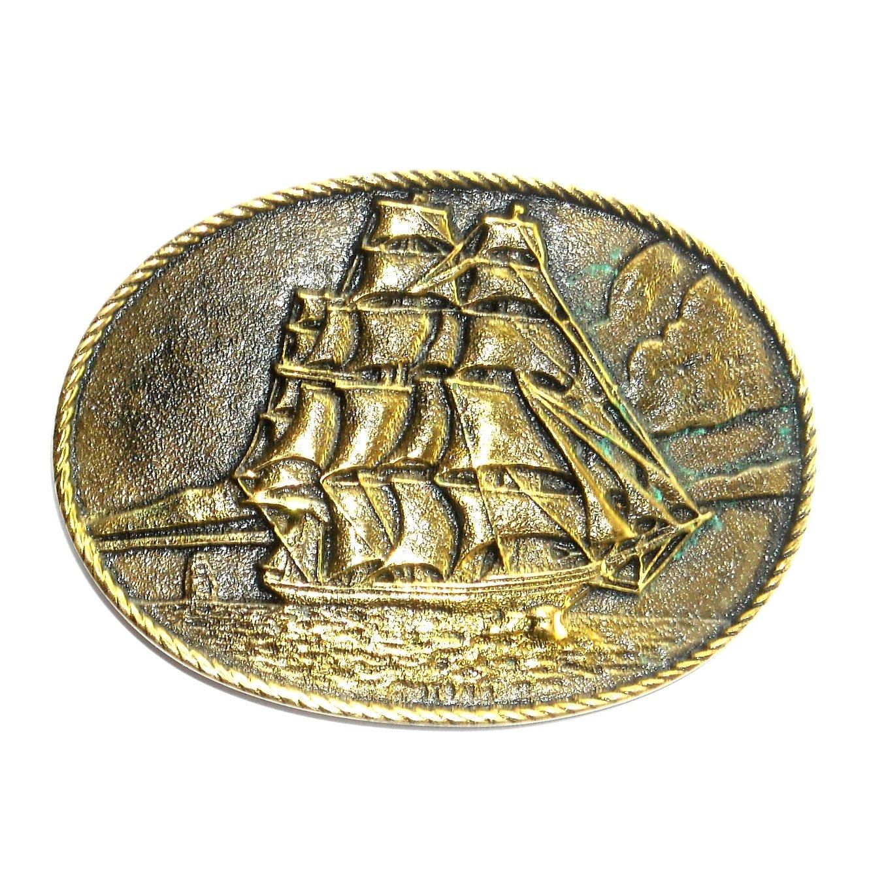 Clipper Ship Heritage Mint Solid Brass Vintage Belt Buckle