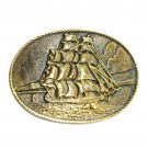 Clipper Ship Heritage Mint Solid Brass Vintage Belt Buckle