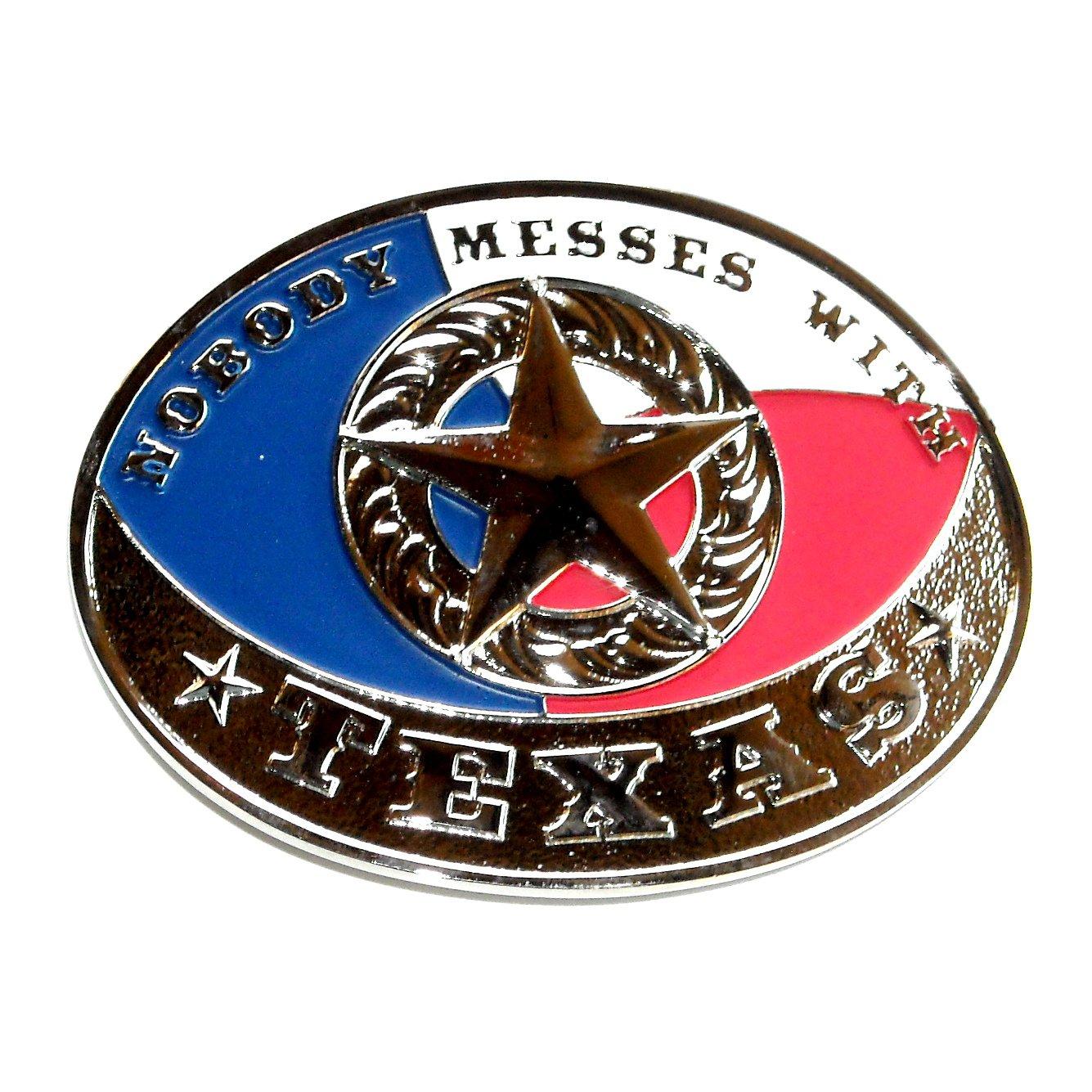 Nobody Messes With TEXAS Montana Silversmiths Attitude Belt Buckle