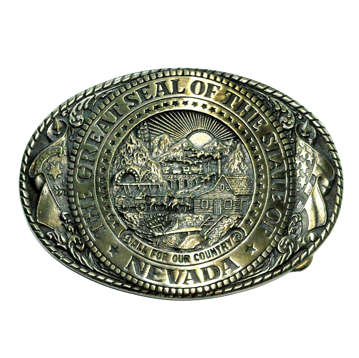 Nevada State Seal Tony Lama Solid Brass Belt Buckle