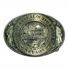 Nevada State Seal Tony Lama Solid Brass Belt Buckle