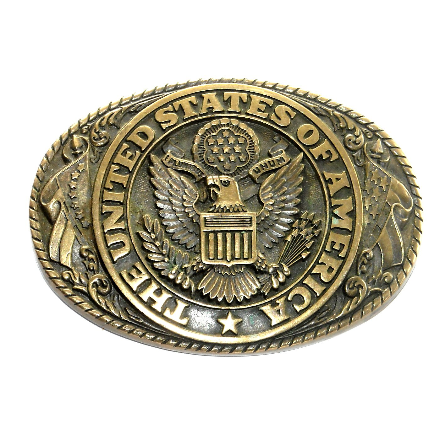 United States Of America Seal Vintage Tony Lama Solid Brass Belt Buckle