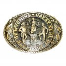 Wyoming State Seal Tony Lama Solid Brass Belt Buckle