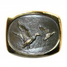 Mallards Ducks Steven Knight Vintage BTS Solid Bronze Belt Buckle