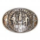 Tony Lama Wyoming State Seal Solid Brass Belt Buckle
