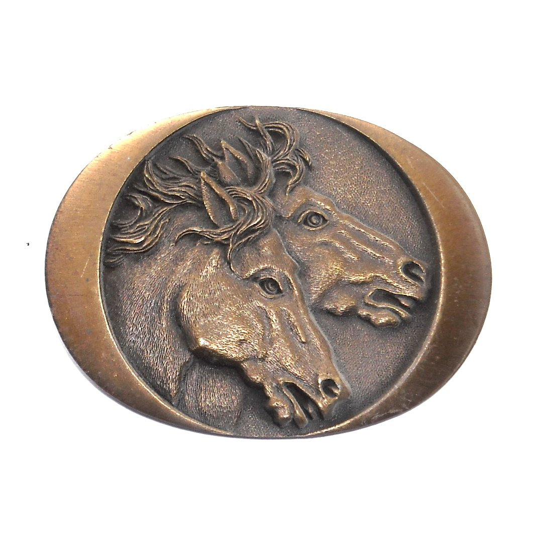 Wild Horses Vintage Indiana Metal Craft Brass Classic Western Belt Buckle