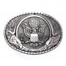 United States Seal Indiana Metal Craft Solid Pewter Classic Western Belt Buckle