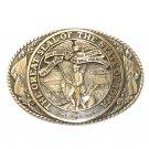 Iowa State Seal Tony Lama Vintage Brass Belt Buckle