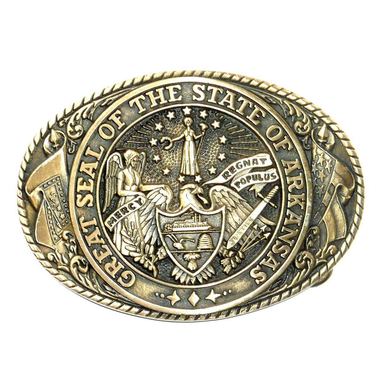 tony lama arkansas state seal vintage brass belt buckle