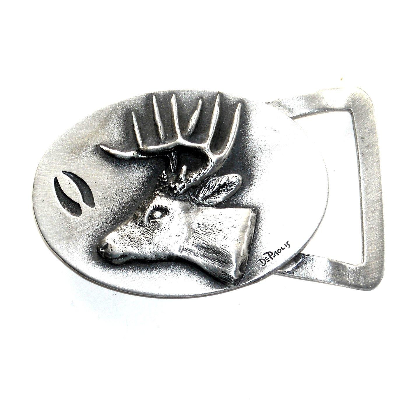 Elk 3D Old Forge Metals Handcrafted Solid Pewter Belt Buckle