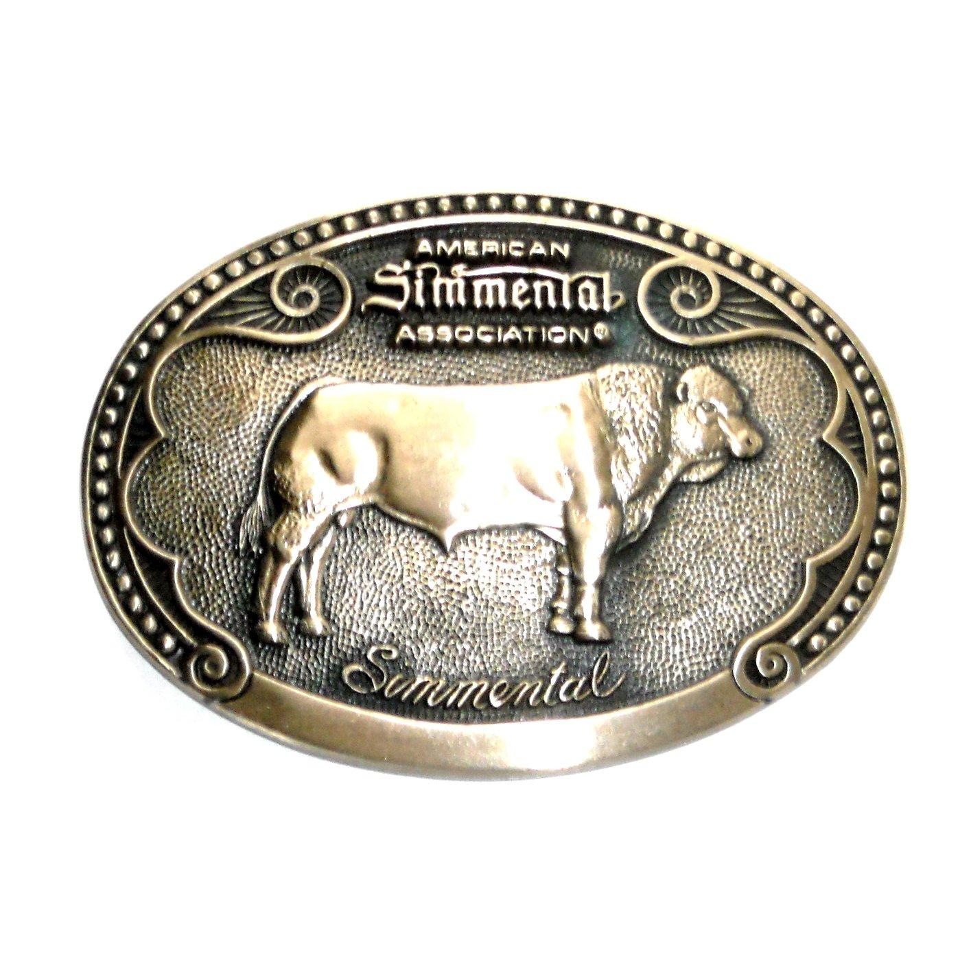 Simmental Tony Lama First Edition Brass Belt Buckle