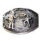 Oklahoma Cowchip Shout Out Award Design Solid Brass Belt Buckle