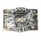 Kansas State Fair 1985 Award Design Solid Brass Belt Buckle