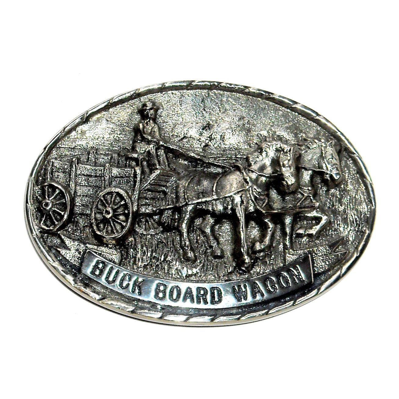 Buck Board Wagon 3D Tony Lama Vintage First Edition Brass Belt buckle
