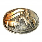 Robert Henderson Rodeo Cowboy Tony Lama Trophy Brass Belt Buckle