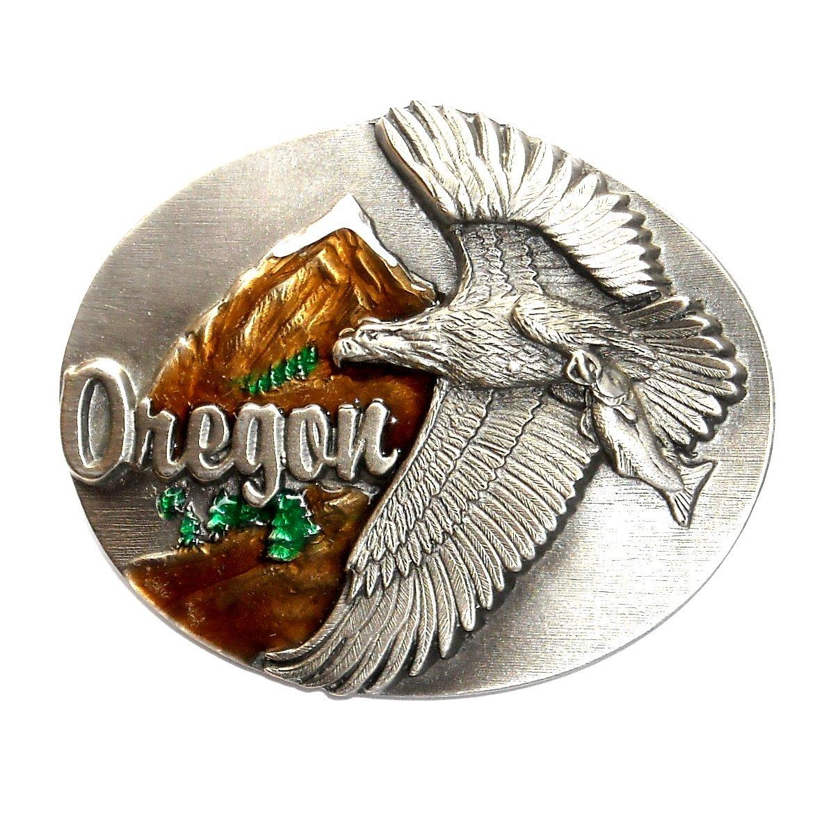 Oregon Bald Eagle 3D Siskiyou Pewter Western Belt Buckle