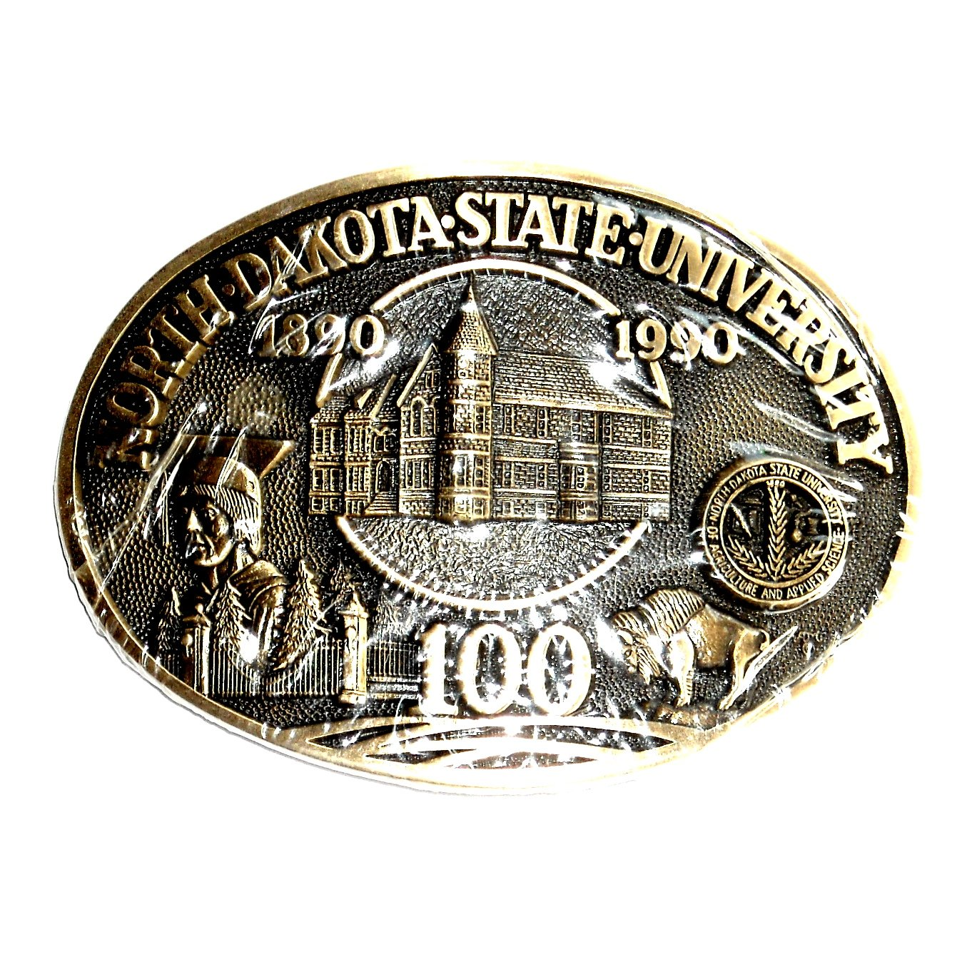 North Dakota State University Award Design Solid Brass Belt Buckle