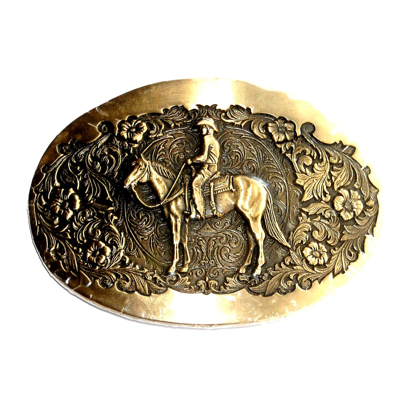 Cowboy Award Design Solid Brass Belt Buckle