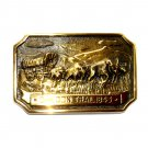 Oregon Trail Heritage Mint Solid Brass Vintage Belt Buckle
