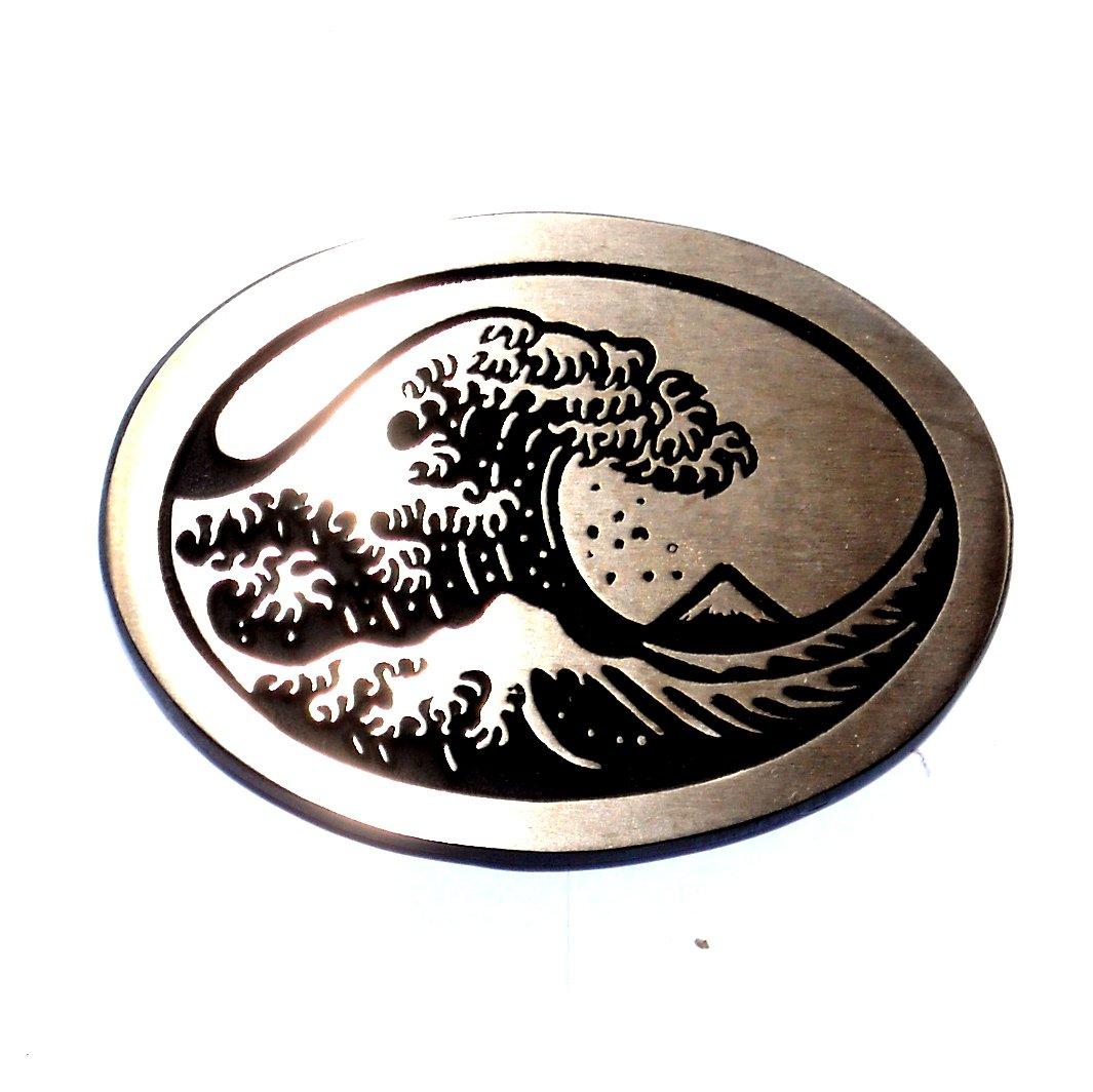 Surfer Great Big Wave Hand Casted Solid Bronze Standard Belt Buckle