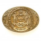 Delaware State Seal Vintage Tony Lama Solid Brass Belt Buckle