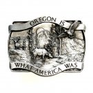 Oregon Is What America Was Vintage Pewter Belt Buckle