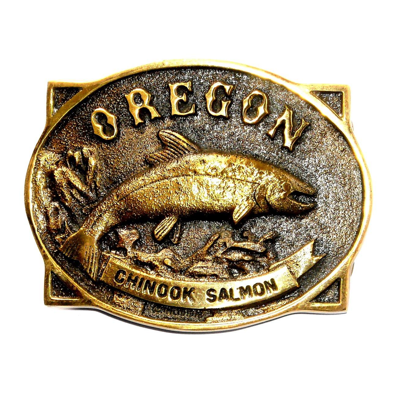 Oregon Chinook Salmon Heritage Mint Solid Brass Vintage 1978 Belt Buckle