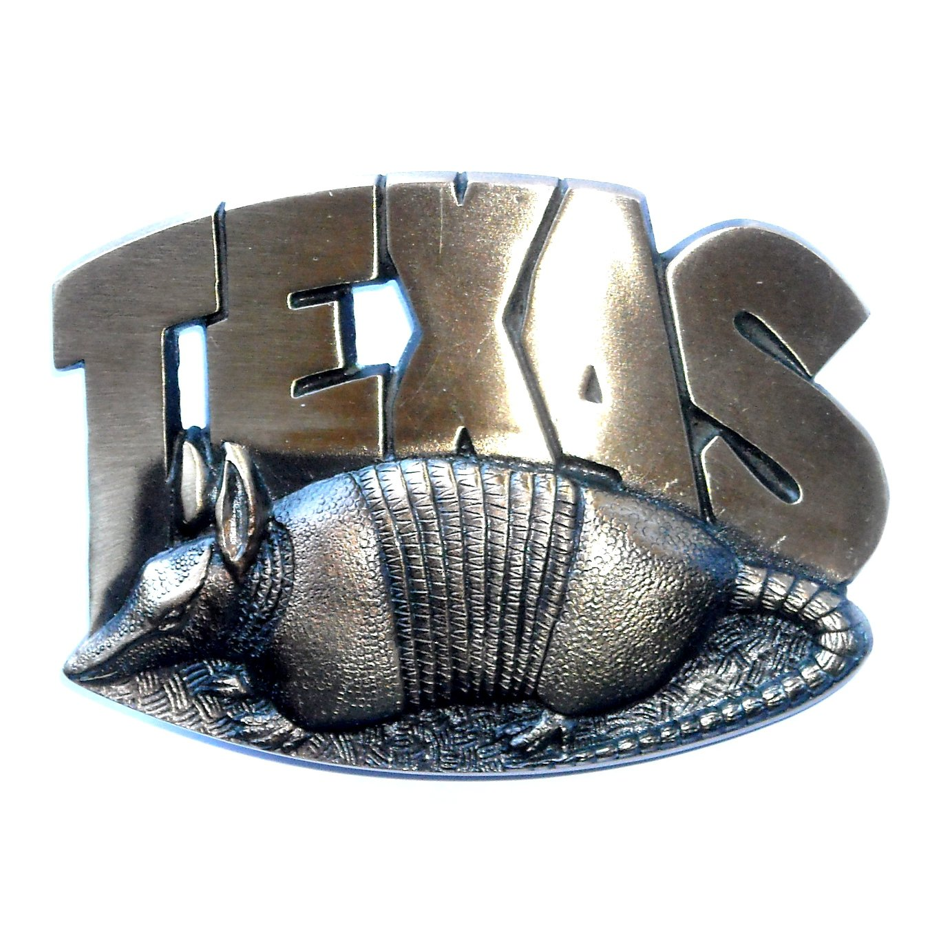 Texas State Armadillo 3D Cutout High Mesa Solid Bronze Belt Buckle