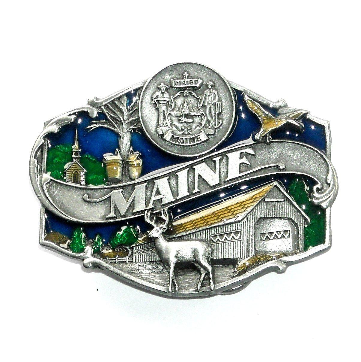 Maine State Seal Color Siskiyou Solid Pewter Belt Buckle
