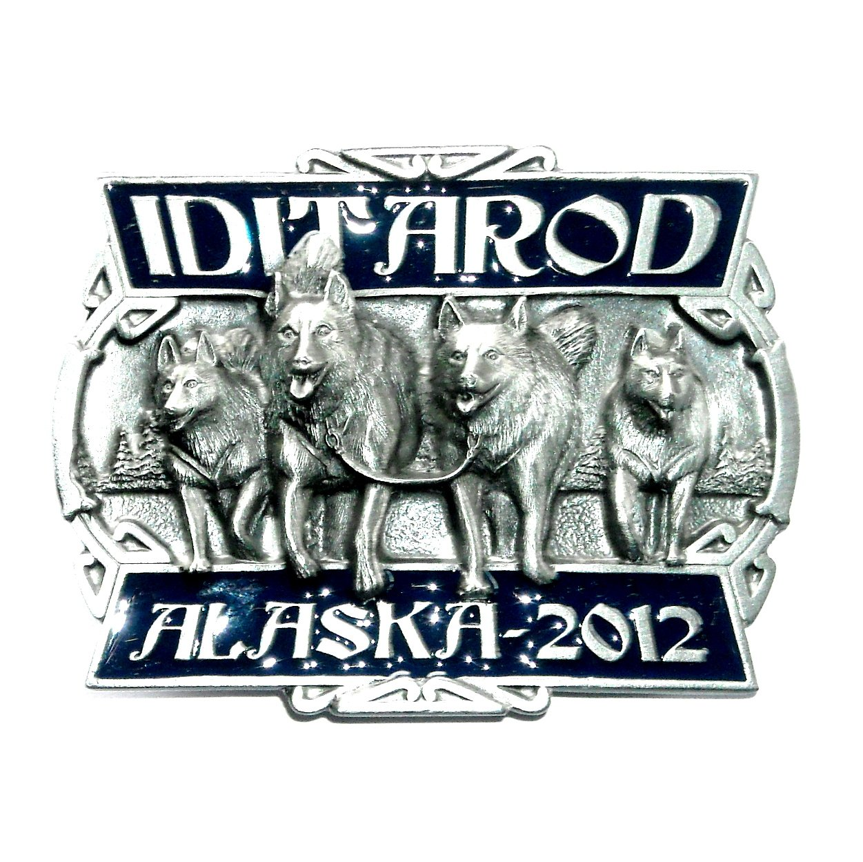Iditarod Race Alaska 2012 Color Siskiyou Solid Pewter Belt Buckle