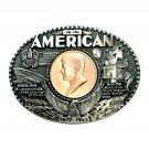 John F Kennedy First Edition Award Design Brass Belt Buckle