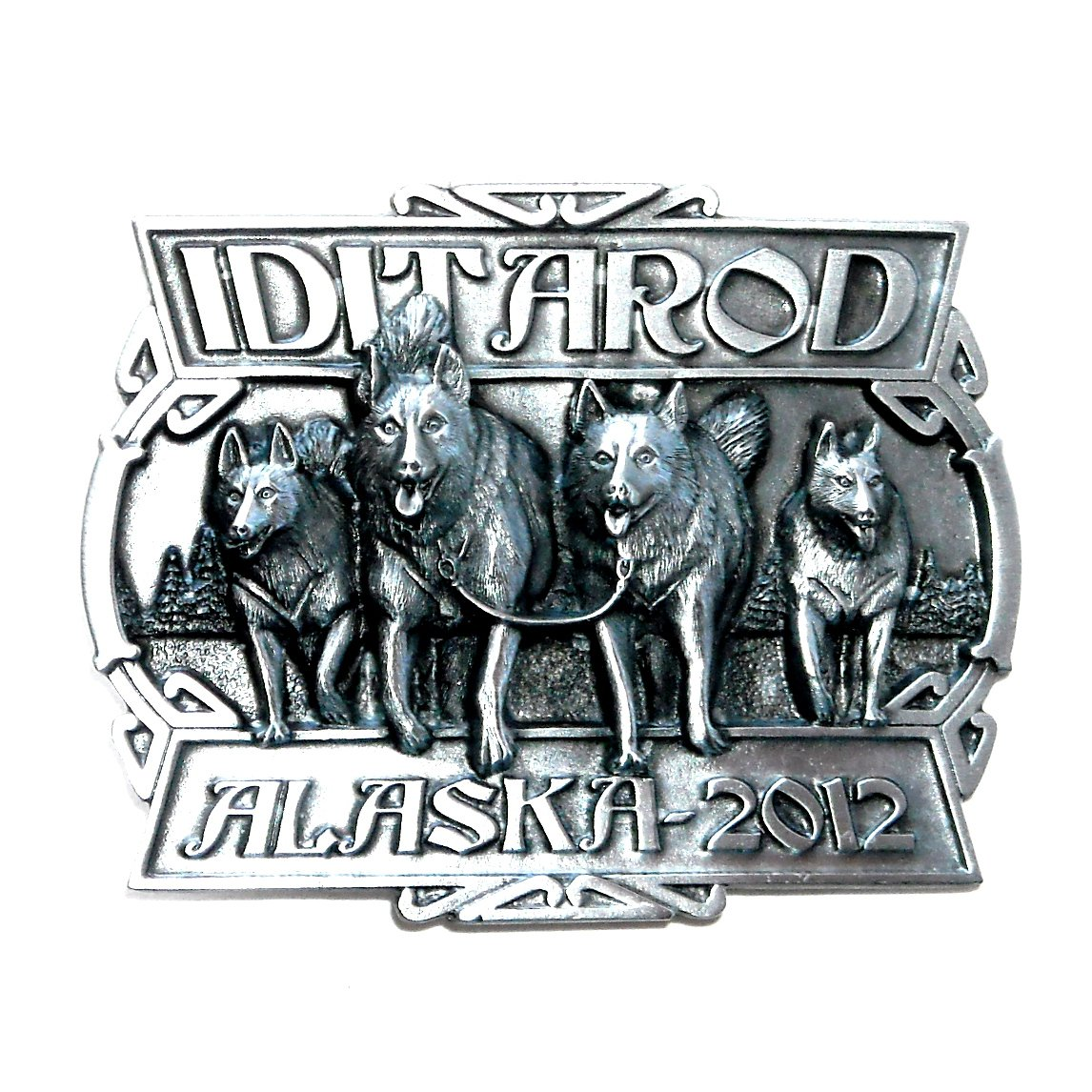 2012 Alaska Dog Sled Race Iditarod 3D Siskiyou Pewter Belt Buckle