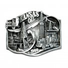 Kansas Oil Vintage Bergamot US 3D Pewter Belt Buckle