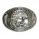 Alaska State Seal Tony Lama Solid Brass Belt Buckle