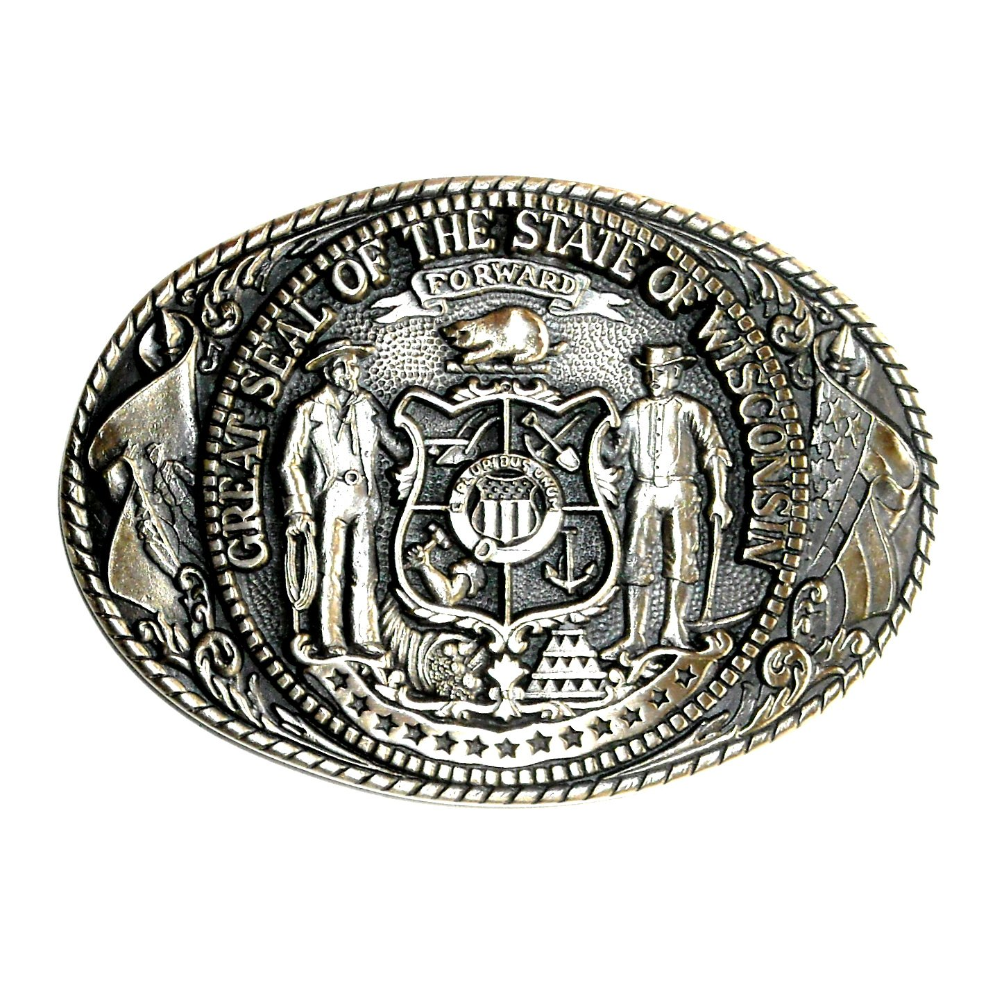 Wisconsin State Seal Tony Lama Solid Brass Belt Buckle