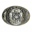 Wisconsin State Seal Tony Lama Solid Brass Belt Buckle