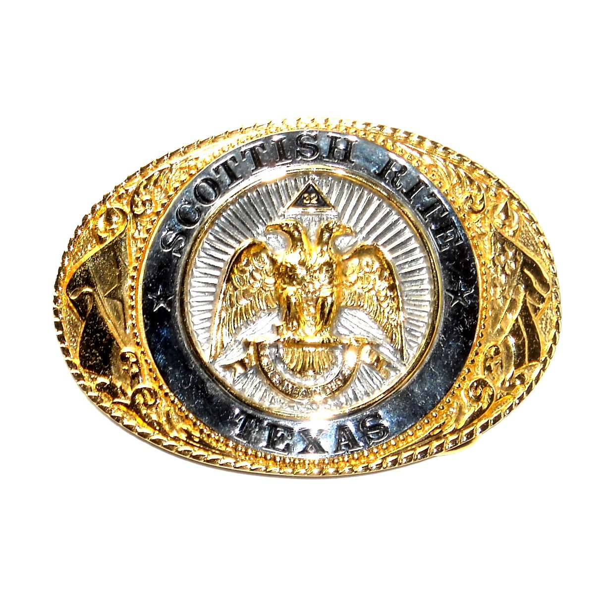 Scottish Rite Texas 24kt Gold Plate Creative Casting Brass Belt Buckle