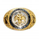 Scottish Rite Texas 24kt Gold Plate Creative Casting Brass Belt Buckle