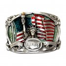 Liberty Flame Of Freedom US 3D Color Pewter Belt Buckle