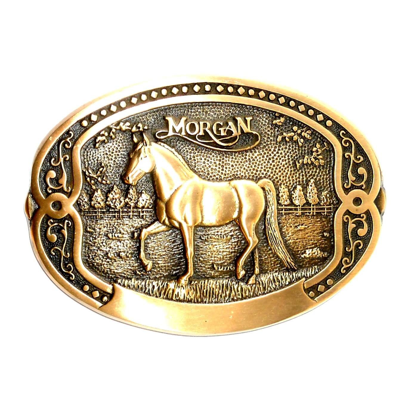 Morgan Horse Tony Lama Breeder Series Brass Belt Buckle