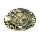 Oklahoma Farmers Union ADM Solid Brass Belt Buckle