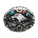 American Eagle Turquoise Coral SSI Handcrafted Belt Buckle