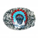 Indian Chief Turquoise Coral SSI Handcrafted Belt Buckle