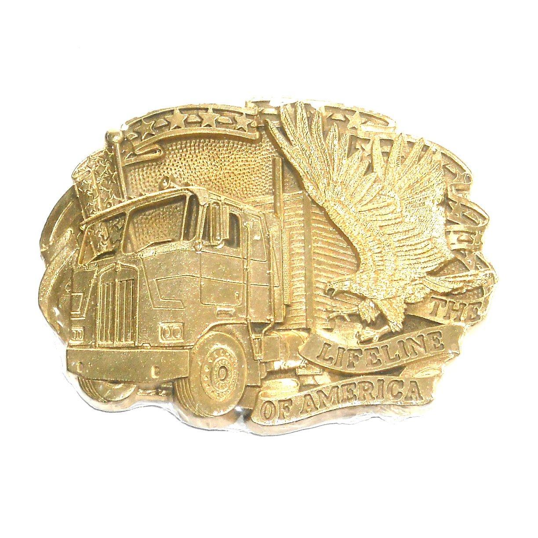Truckers Lifeline Of America ADM Solid Brass Belt Buckle