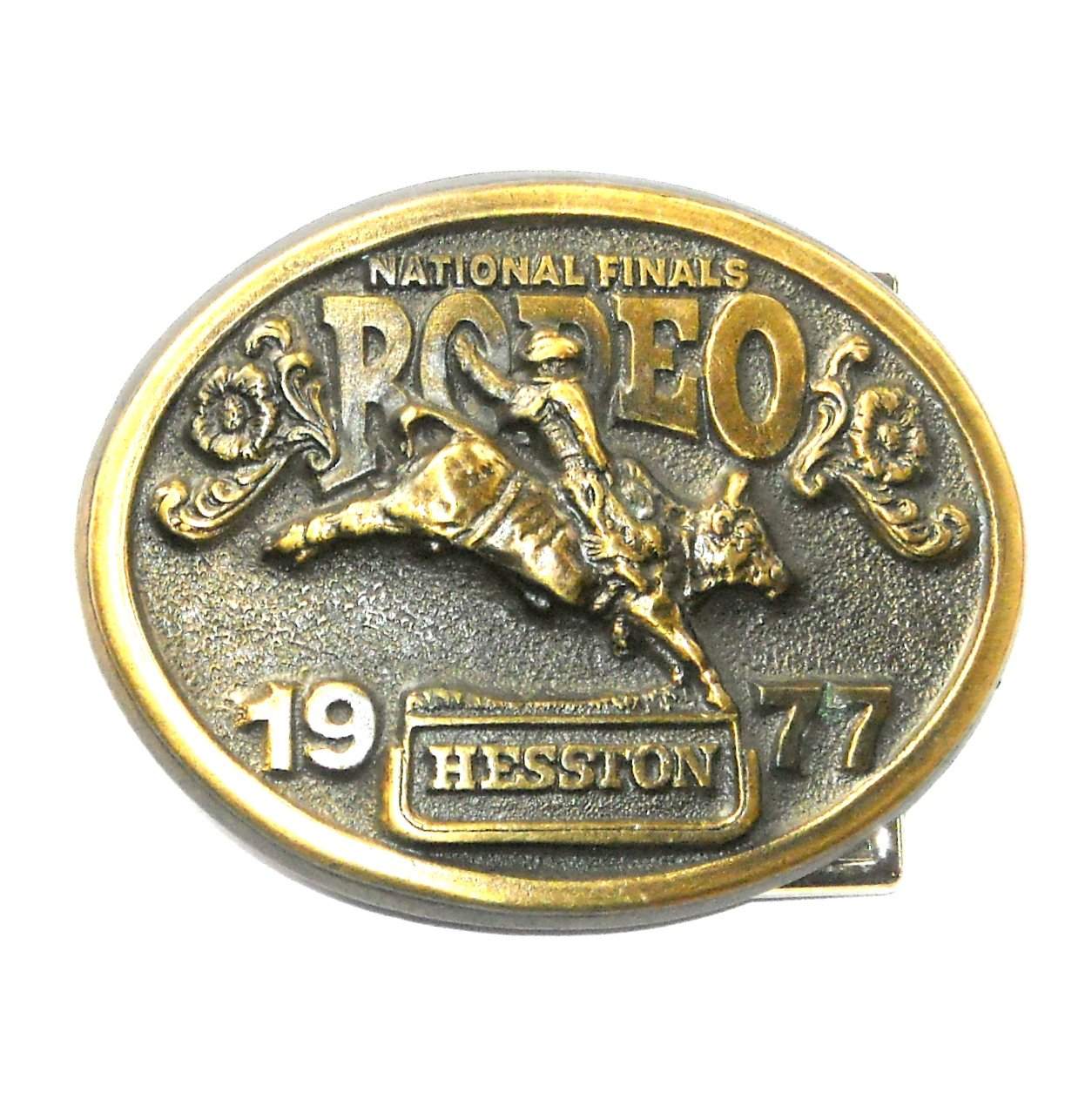 NFR Hesston 1977 National Finals Rodeo 3D Brass Belt Buckle
