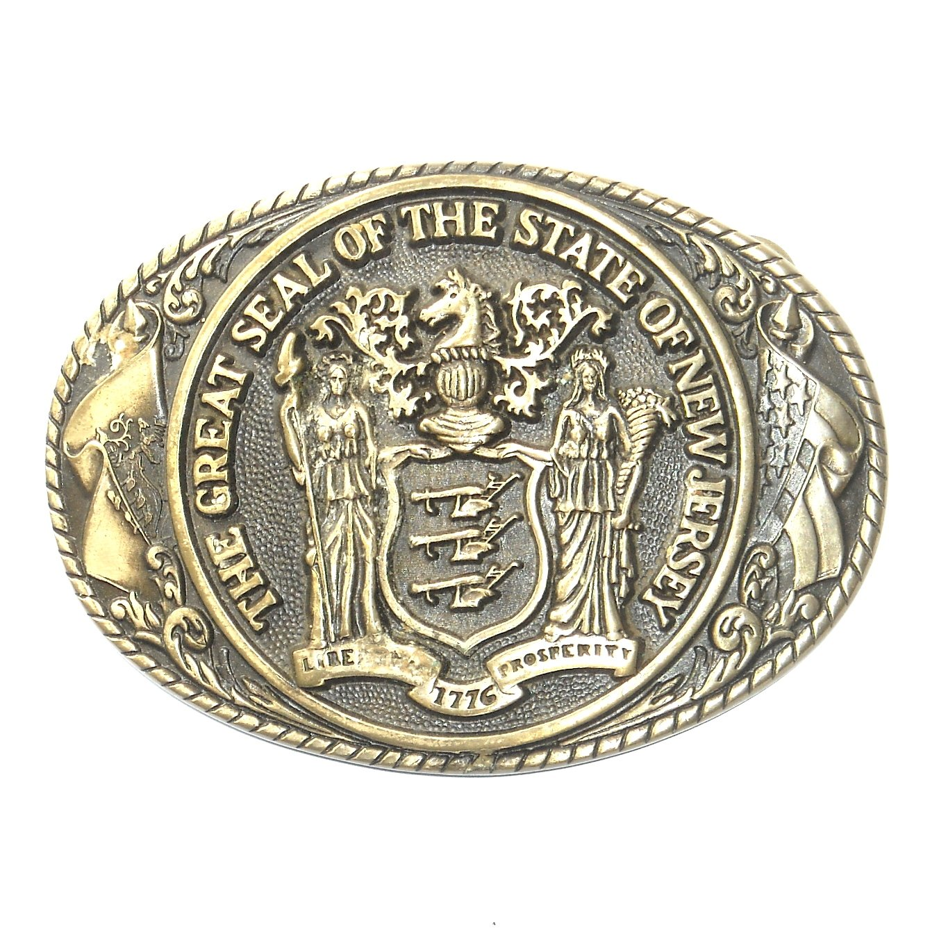 New Jersey State Seal First Edition Tony Lama Solid Brass Belt Buckle