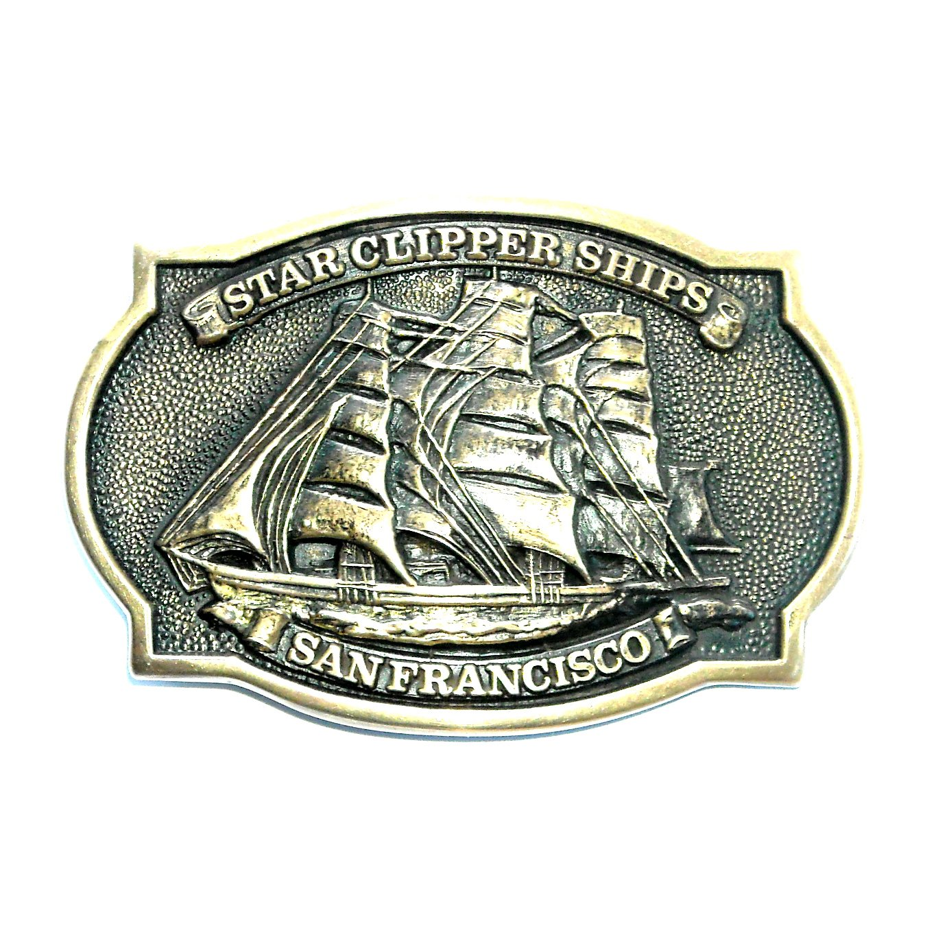 Star Clipper Ships San Francisco BTS Brass Vintage Belt Buckle